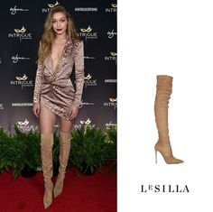 Top model Gigi Hadid super gorgeous in #LeSilla camel color thigh-high suede boots for her 21st birthday celebration at Intrigue Vegas Club on April 30, 2016 in Las Vegas, Nevada.  Shop the it-styles of the Spring Summer collection on www.lesilla.com #starlooks