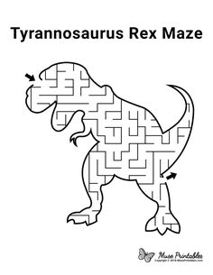Dinosaur Worksheets, Dinosaur Activities, Dinosaur Crafts, Preschool Activities, Mazes For Kids Printable, Free Printables, Activity Sheets For Kids, Tyrannosaurus Rex, Hip Hip
