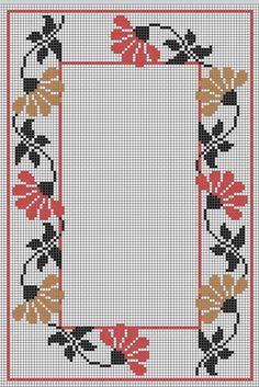 Cross Stitch Heart, Cross Stitch Borders, Cross Stitch Flowers, Cross Stitch Designs, Cross Stitching, Cross Stitch Embroidery, Cross Stitch Patterns, Crochet Lace Edging, Flower Embroidery Designs