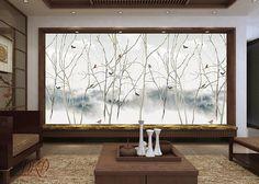 Chinoiserie souple murale sur le paysage à l'encre grise, arbre avec des oiseaux, peler et coller papier peint, Stickers muraux, Stickers muraux Description: Un fond d'écran murale mur est une décoration extraordinaire, que vous pouvez l'utiliser tout en agençant intérieurs. Nos