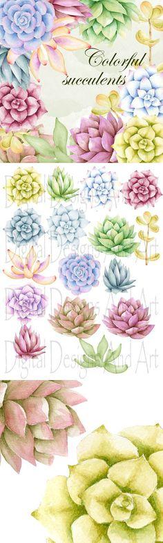 Succulents clipart. Wedding Card Templates