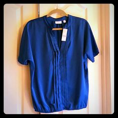 Top Brand new! Beautiful royal blue silky top with elastic waist band. New York & Company Tops Blouses