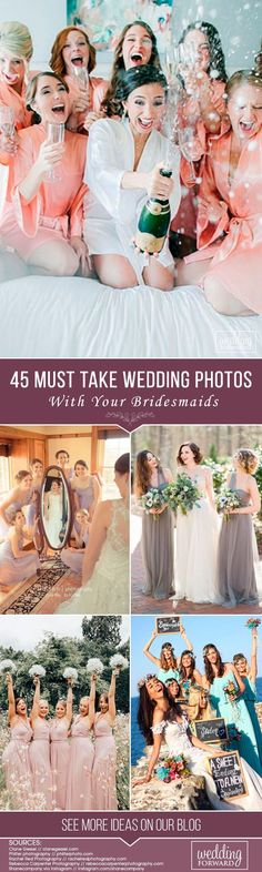 From getting ready pictures, to silly pictures, to the sentimental picture, there are so many must have wedding photos with your bridesmaids. Don't forget to include some into your wedding album. #weddingforward #wedding #bride #weddingPhoto