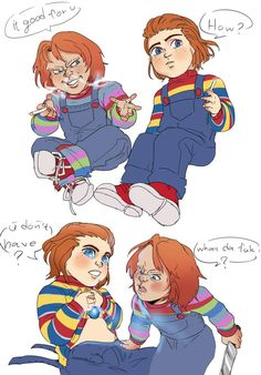 Aye, have decided to make this cuz the idea of Chucky being overprotective of Andy seems pretty adorable to me tbh aside from all the bloodshed going on. Chucky Horror Movie, Horror Movies Funny, Horror Films, Scary Movies, Scary Movie Characters, Childs Play Chucky, Slasher Movies, Kawaii, Kids Playing