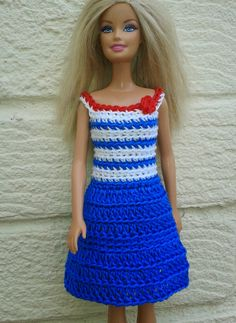 I've improvised my crochet dress pattern to make this blue and white crochet dress for Barbie. The pattern uses yarn - I used Patons . Barbie Clothes Patterns, Crochet Barbie Clothes, Doll Clothes Barbie, Barbie Dress, Clothing Patterns, Doll Dresses, Crochet Dresses, Baby Dresses, Blog Crochet