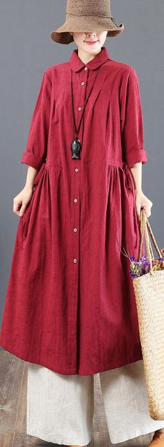 Elegant red linen dresses plus size clothing lapel collar linen gown 2018 waist drawstring caftansMost of our dresses are made of cotton linen fabric, soft and breathy. loose dresses to make you comfortable all the time. Long Fall Dresses, New Long Dress, Cotton On Outfits, Womens Linen Clothing, Size Clothing, Plus Size Dresses, Plus Size Outfits, Linen Dresses, Sweater Fashion