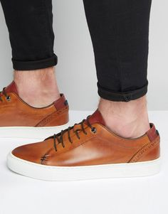 Shop Ted Baker Kiing Leather Trainers at ASOS. Baskets, Bronze, Foot Pads, Leather Trainers, Fashion Online, Converse, Boutique, Sneakers, Asos