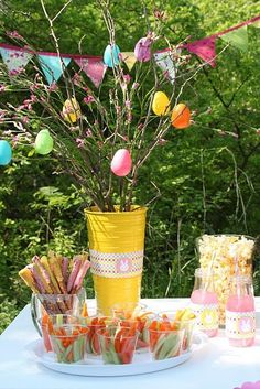 such a darling Easter egg hunt set up