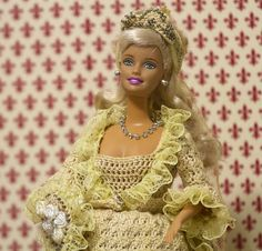Barbie in handmade cream crocheted 1874 Bridal Gown