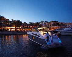 Evening drinks at Puerto Portals, Mallorca on board the Princess V48 Open #experiencetheexceptional #destination #yacht #Mallorca