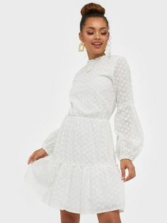 Embroidered Dress, Sisters Point - Lilly is Love White Dress Outfit, Dress Outfits, Prom Dresses, Summer Dresses, Formal Dresses, Pretty White Dresses, White Dress Summer, White Long Sleeve Dress, White Suits