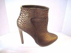 Mark & James Badgley Mischka Bronze Snake Embossed Leather Fido Ankle Boots 9 M #BadgleyMischka #pumpsbootie #Clubwear