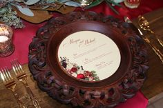 Marsala round menu with floral design by Dogwood Blossom Stationery. Photo by Tab McCausland.