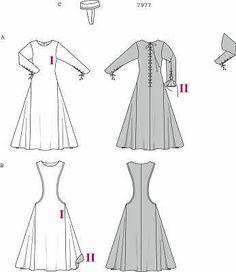 Burda 7977 Renaissance Medieval Gothic Dress Costume Sewing Pattern 10 24 | eBay