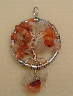 Handmade Tree of Life Pendant with Tri Color Wire in Autumn Colors