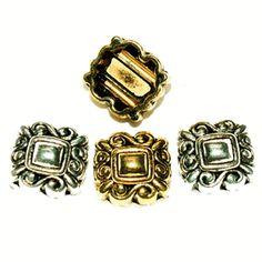 Metal Slider Beads Double Strand Swirls