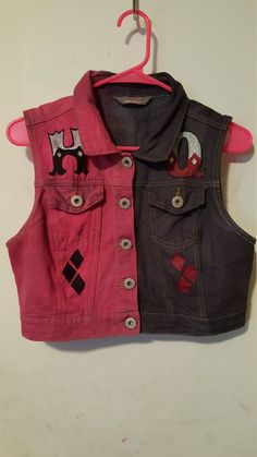"""Hand dyed punk vest featuring the new Suicide Squad Harley Quinn's jacket design """"Property of Joker"""" and her last name Quinn on the back. Vest length varies depending on availibility, colors may vary due to being hand dyed. Harley Costume, Harley Quinn Cosplay, Joker And Harley Quinn, Red Waistcoat, Red Vest, Cosplay Outfits, Gotham, Diy Clothes, Creations"""