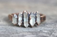 Rohe Crystal Ring Bergkristall Ring Herkimer Diamant-Ring