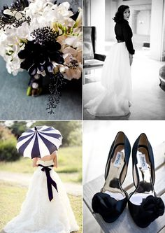 i don't usually like black and white wedding color combo, but this one works.