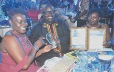 From left: Ms Shirley Acquaah-Harrison, Director of Marketing, GCGL, Mr Ken Ashigbey, Managing Director, GCGL and Ms Adwoa Oforiwa Turkson, Market Research Manager, displaying the awards
