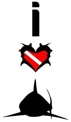 I Love Sharks T-Shirt Design #sharks  #Scuba #Diving http://sharktshirts.spreadshirt.com/