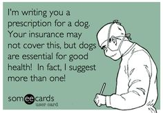 I'm writing you a prescription for a dog. Your insurance may not cover this, but dogs are essential for good health! In fact, I suggest more than one!