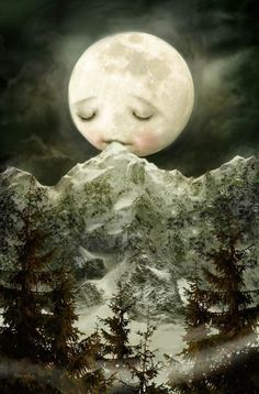 The Peckish Moon - Meluseena print  What does the moon nibble on, when it gets the munchies at night? Why tasty icy mountaintops of course!