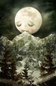 The Peckish Moon  Meluseena print by Meluseena on Etsy, $18.00
