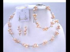 Pearls in Jewelry: Traditional Pearl Jewelry: Wedding Bridal Bridemaids Jewelry Set Peach Freshw...