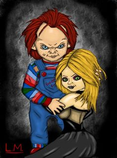 There is nothing greater than love. besides death to these two. But you know they wouldn't have it any other way. Chucky from the first Child's Play and Tiffany from Seed of Chucky. aren't they jus. Horror Movie Characters, Horror Movies, Slasher Movies, Halloween Painting, Halloween Art, Chucky Movies, Childs Play Chucky, Bride Of Chucky, Dangerous Love