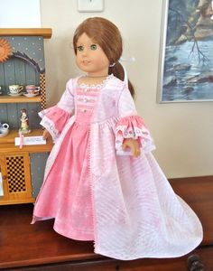 American Girl Doll Clothes, Felicity, Letter to Elizabeth, Dress (Gown) and Lett… - American Girl Dolls American Girl Outfits, American Doll Clothes, Ag Doll Clothes, Doll Clothes Patterns, American Girls, Doll Patterns, One Piece Gown, American Girl Felicity, American Girl Accessories