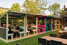 Outdoor Restaurant Design, Rooftop Restaurant, Restaurant Interior Design, Rustic Restaurant, Cafe Shop Design, Coffee Shop Interior Design, Kiosk Design, Rooftop Design, Outdoor Cafe
