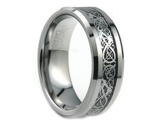 Personalized Engraved Tungsten Carbide Wedding Band Ring Silver Celtic Dragon Design Inlay 8mm (Free Laser Engraving)