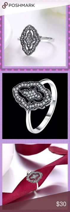 🌸Sterling Silver Black Drop with CZ Sprinkles🌸 🖤🌸🖤ABSOLUTELY STUNNING Sterling Silver, S925, Black Drop with Sprinkles of AAA Quality Cubic Zirconia, the sparkle that this ring has is amazing!🖤🌸🖤 Boutique Jewelry Rings