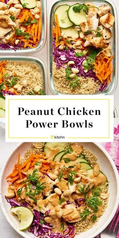 Recipe: Peanut Chicken Power Bowls — Recipes from The KitchnYou can find Bowls recipe chicken and more on our website.Recipe: Peanut Chicken Power Bowls — Recipes from The Kitchn Chicken Quinoa Bowl Recipe, Healthy Chicken Recipes, Cooking Recipes, Recipe Chicken, Eat Clean Recipes, Clean Eating Dinner Recipes, Paleo Recipes, Lunch Bowl Recipe, Chicken Quinoa Salad