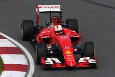 Sebastian Vettel of Germany and Ferrari drives during practice for the Canadian Formula One Grand Prix at Circuit Gilles Villeneuve on June 5, 2015 in Montreal, Canada