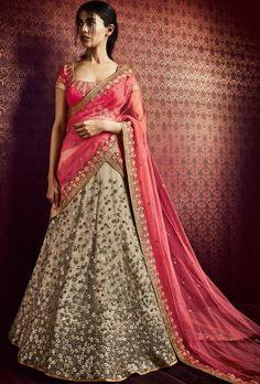 Beige and pink designer party wear lehengha - Desi Royale  - 1