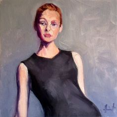 Posing, painting by artist Liza Hirst