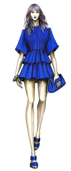 New fashion illustration contemporary posts 68 Ideas Moda Fashion, New Fashion, Fashion Art, School Fashion, Blue Fashion, Fashion Design Drawings, Fashion Sketches, Fashion Illustration Dresses, Fashion Illustrations
