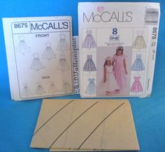McCall's 8675 Easy Girls' Dress  Size 4 5 6   Uncut   Sunday School Formal Party
