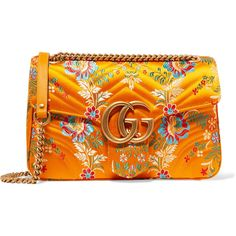 Gucci GG Marmont medium quilted floral-jacquard shoulder bag (9.610 DKK) ❤ liked on Polyvore featuring bags, handbags, shoulder bags, gucci, saffron, floral shoulder bag, orange shoulder bag, orange purse, orange handbags and chain strap purse