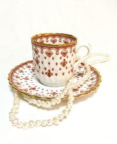 Spode Fleur de Lys Red Demitasse Cup, Fleur de Lis Cup & Saucer,English Bone China, 1961-1994, Vintage by GracesVintageGarden on Etsy https://www.etsy.com/uk/listing/477371221/spode-fleur-de-lys-red-demitasse-cup