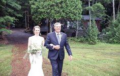 Father giving away Bride | Vintage wedding photography | www.newvintagemedia.ca | Bala Wedding
