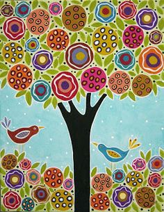 karla gerard art: Tree and 2 Birds in the Blooms Painting by Karla G