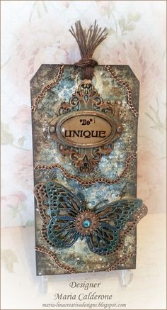 Grungy Mixed Media Butterfly Tag