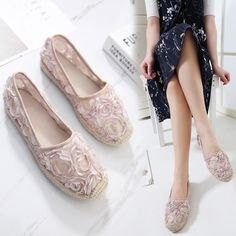 Tendance Chaussures 2017/ 2018 : Women's Shoes 2017 New Items Espadrilles Femme Summmer Cute Lace Loafers Wom...