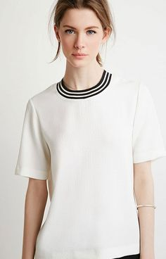 aa5013e8138 BNWT FOREVER 21 Cream Black Varsity Stripe Textured Boxy Top Tee 6 to 16