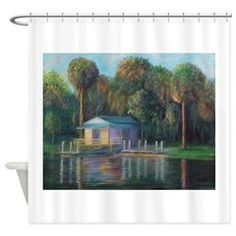 Old Florida Morning at Salt Springs Shower Curtain