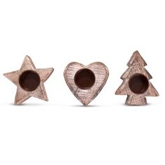 Christmas Rustic Wooden Tealight Holders