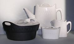This series of ceramics was recently featured in the Designing Home:Jews in Mid-Century Modernism at the Contemporary Jewish Museum in San Francisco. The covered casserole with matte black exterior and white lid/interior is particularly striking.  Designer is Earnest Sohn from the 1960's    MODish.net